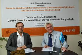 The MoU signing ceremony between GIZ and UNICEF to implement carbon offset improved cook stoves project in Bangladesh-2015