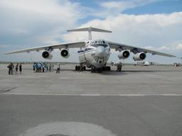 KYRGYZSTAN, 2010. Offloading and transportation of supplies